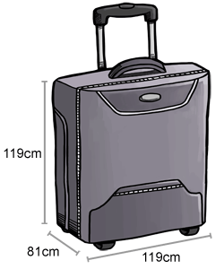 Grey suitcase with arrows showing measurements