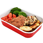 Grilled Chicken Breast in Mushroom Sauce with Veggies
