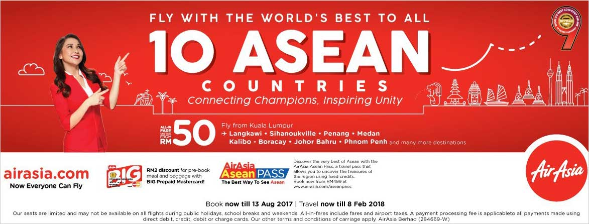 Airasia Celebrates Asean's Golden Jubilee With Low Fares