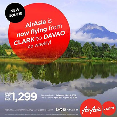 AirAsia reconnects Clark – Davao with 4x flights weekly