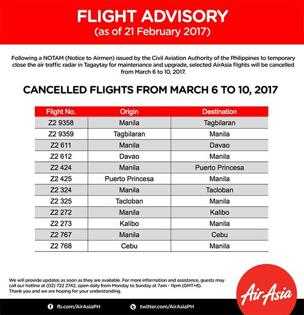Philippines Flight Advisory Cancellation 6 - 10 March 2017