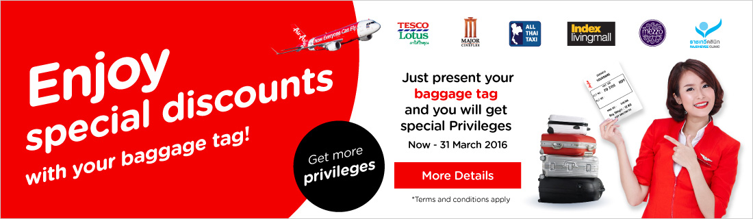 Exclusive offer for AirAsia and AirAsia X guests who purchased checked baggage and sports equipment!