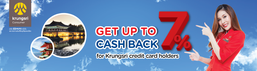 Up to 7% cashback for Krungsri credit card holders